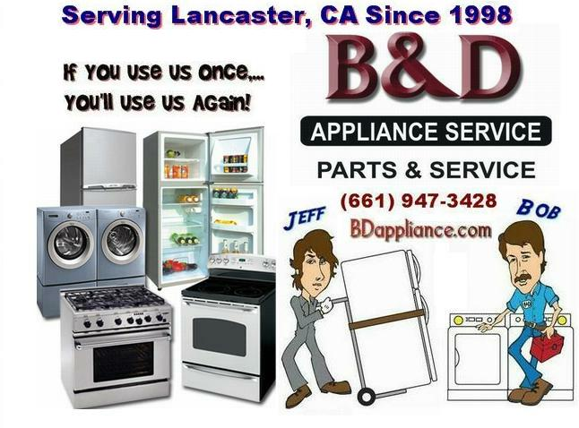 Service Call charge for appliance repair in Lancaster, CA